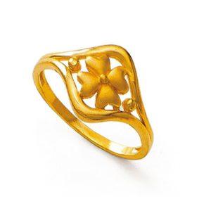 Blossom four leaf clover ring