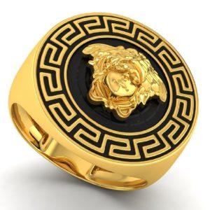 Black enamel versace ring