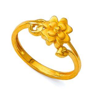 Gold blossom flower ring
