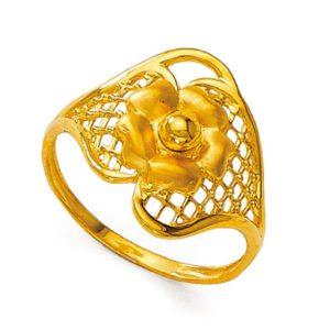 Open flower leaf ring
